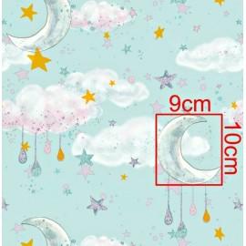 Coton OEKO TEX lune dorée nuage fond menthe en 160cm