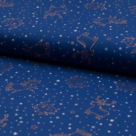 Au mètre popeline Coton bleu marine motifs cuivrés brillants en 145cm n°10652