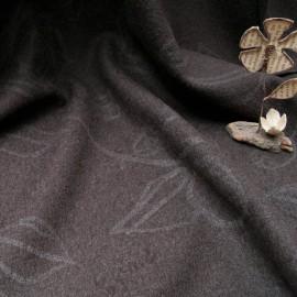 Au mètre laine bouillie marron fantaisie avec impression fleur en 135cm n°10653