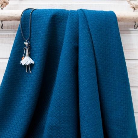 Au mètre léger lainage fantaisie bleu paon en 150cm n°10654