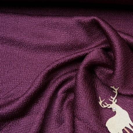 Au mètre magnifique tissu gaufré prune en 130cm n°10658