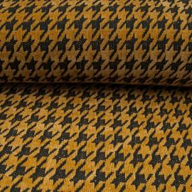 Au mètre tissu chenillé polyester pied de coq moutarde en 145cm n°10662