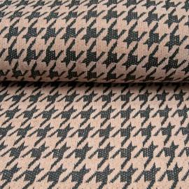 Au mètre tissu chenillé polyester pied de coq rose en 145cm n°10663