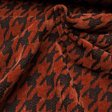 Au mètre tissu chenillé polyester pied de coq rouille en 145cm n°10664
