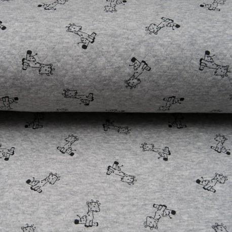 Au mètre Jersey matelassé gris imprimé petite girafe noire en 150cm n°10657