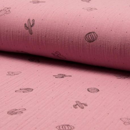 Au mètre Double Gaze imprimé cactus 100% Coton rose foncé en 130cm n°10681