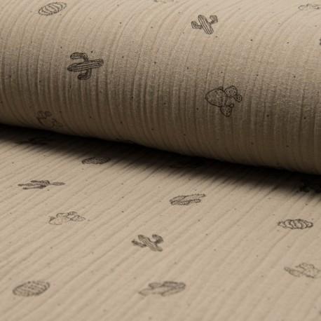 Au mètre Double Gaze imprimé cactus 100% Coton taupe en 130cm n°10682