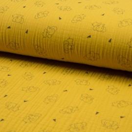 Au mètre Coton Triple Gaze en 130cm imprimé éléphant fond moutarde n° 10684
