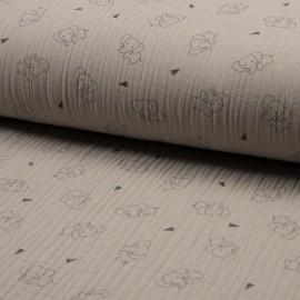 Au mètre Coton Triple Gaze en 130cm imprimé éléphant fond sable n° 10685