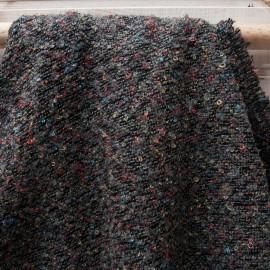 Au mètre fin lainage bouclette multicolores polyester en fond gris foncé en 145cm n°10674