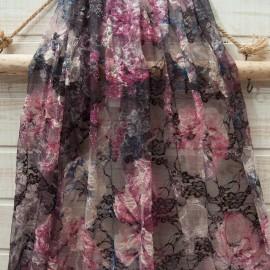 Au mètre dentelle stretch fleurie violette noire en 150cm n°10687