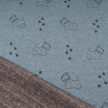Au mètre tissu sweat imprimé petit chien bleu jean envers doudou gris en 145cm n°10694