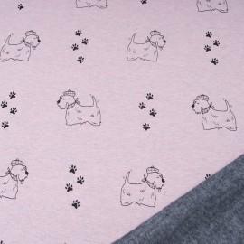 Au mètre tissu sweat imprimé petit chien rose pâle envers doudou gris en 145cm n°10695