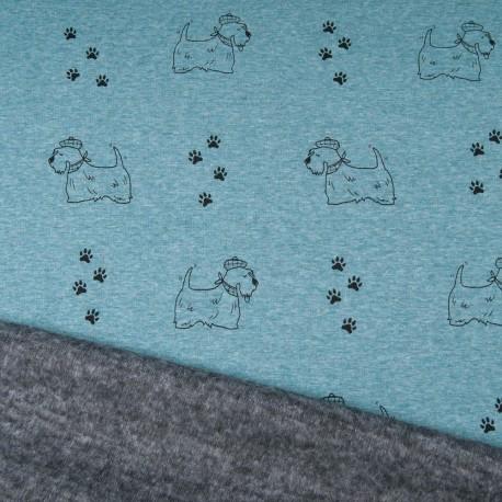Au mètre tissu sweat imprimé petit chien vert pâle envers doudou gris en 145cm n°10696