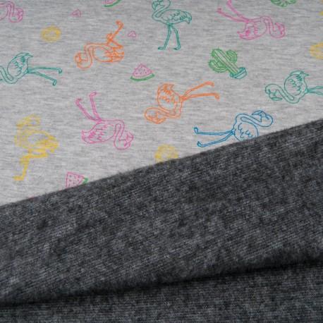 Au mètre tissu sweat imprimé flamand de couleur envers doudou gris en 145cm n°10688