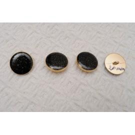 bouton Noir paillettes dorées à coudre à queue en métal doré 20mm