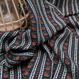 Viscose fond noir, fleurette marron à rayures en 140cm n°10692