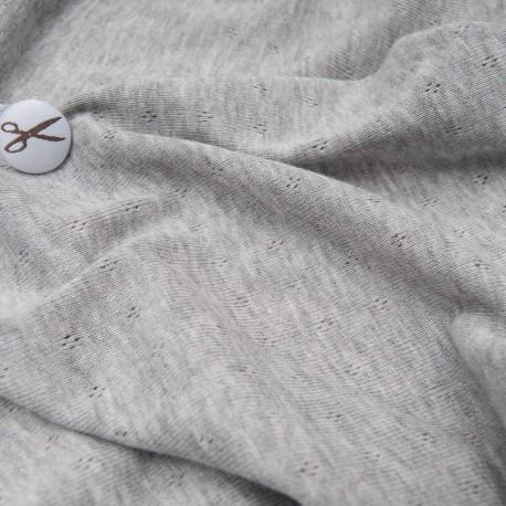 Au mètre jersey gris ajouré Coton et polyester en 135cm n°10704