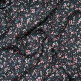 Coupon viscose noire imprimée fleurette rose 1m60 en 145cm n°10709