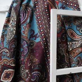 Coupon Coton Haute Couture violet bordeaux et turquoise 1m70 en 145cm n°10285
