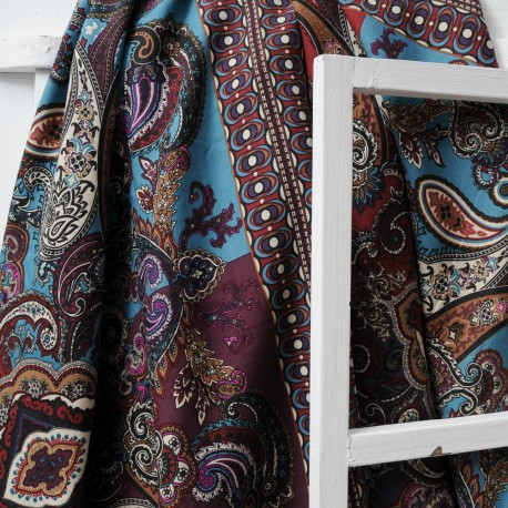 Au mètre Coton Haute Couture violet bordeaux et turquoise en 145cm n°10285