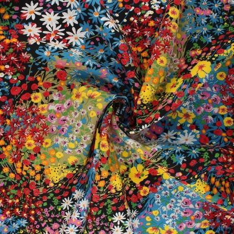 Tissu viscose au mètre ALICIA Oekotex imprimé fleuri en 140cm