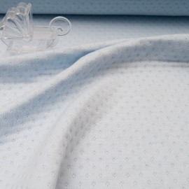 Au mètre Jersey Coton ajouré triple épaisseur bleu layette en 160cm n°10715