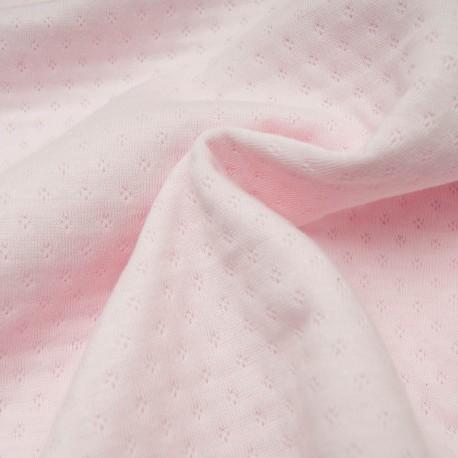 Au mètre Jersey Coton ajouré triple épaisseur rose pâle en 160cm n°10716