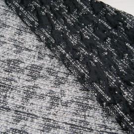 Au mètre magnifique Jacquard réversible noir et blanc Haut de gamme en 150cm n°10722