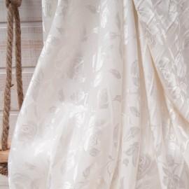 Au mètre magnifique brocart Coton ivoire en 145cm n°10724