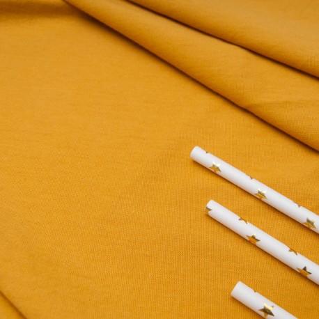 Au mètre Jersey Coton moutarde Oekotex en 180cm n°10667