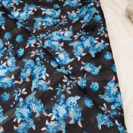 Coupon voile polyester fond noir, fleurette bleue, rayure lurex argent 1m20 en 150cm n°10728
