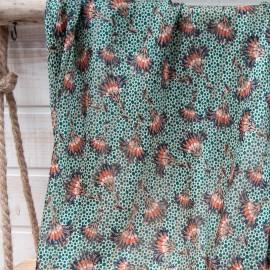 Au mètre voile polyester rayure lurex doré fond vert motif marron en 145cm
