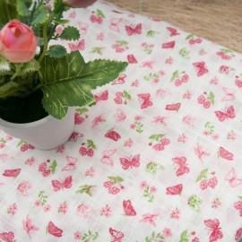 Au mètre simple gaze Coton Viscose blanche imprimée papillon rose en 145cm n°10729