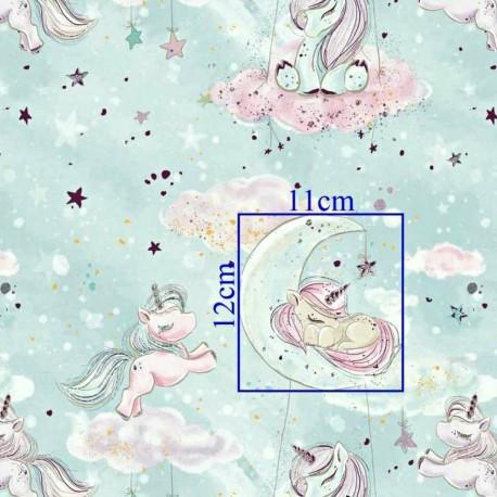 Coton OEKO TEX licorne dorée nuage fond menthe en 160cm