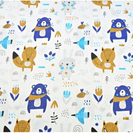Coton OEKO TEX Ours bleu renard beige fond blanc en 160cm