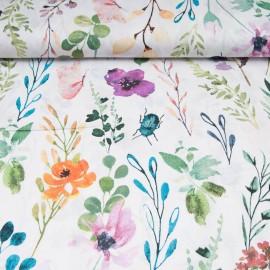 Coton OEKO TEX Fleur et scarabée fond blanc en 160cm
