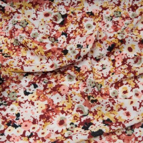 Coupon Maille polyester polyamide fond blanc fleurette bordeaux 1m25 en 150cm