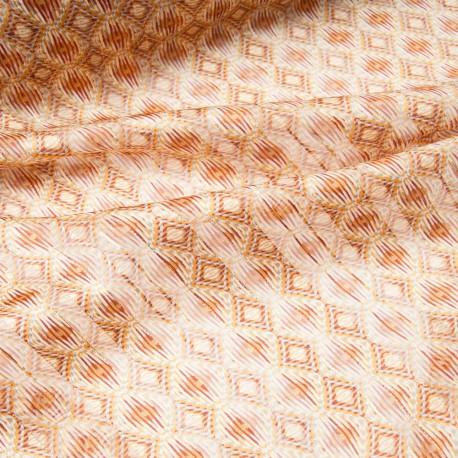 Au mètre voile polyester rayure lurex doré fond ocre en 145cm