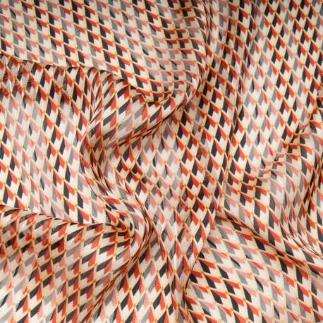 Au mètre voile polyester rayure lurex doré motif rouge noir en 145cm