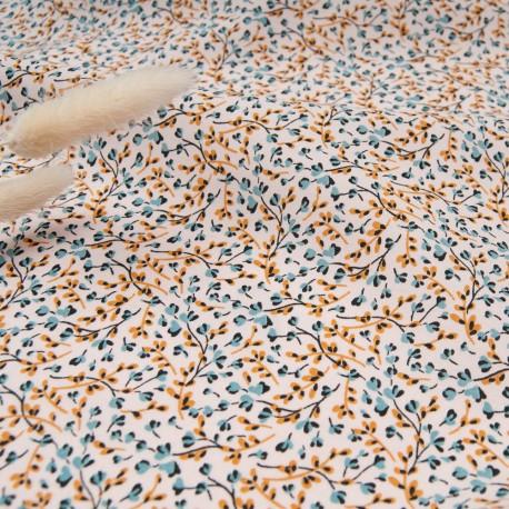 Tissu popeline viscose au mètre KRISTIN ROSE Dragée Oekotex imprimé fleuri en 140cm