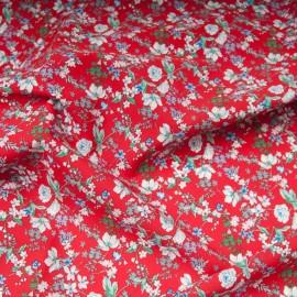 Tissu popeline viscose au mètre ANAIS ROUGE Oekotex imprimé fleuri en 140cm