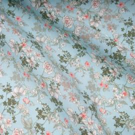 Tissu popeline viscose au mètre ANAIS TURQUOISE pâle Oekotex imprimé fleuri en 140cm