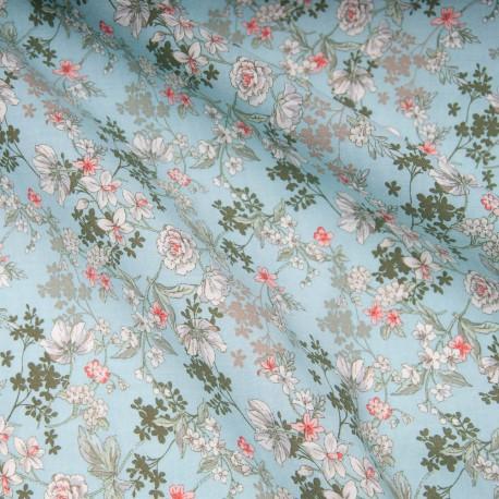Tissu popeline viscose au mètre ANAIS TURQUOISE Oekotex imprimé fleuri en 140cm