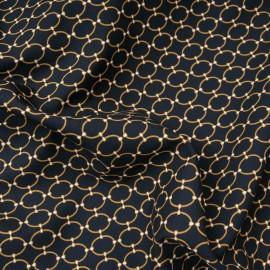 Tissu popeline viscose au mètre Inès Noir maillon doré Oekotex en 140cm