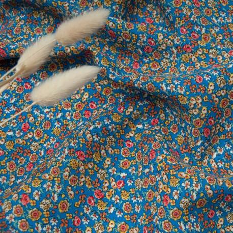 Tissu popeline viscose au mètre JULIA BLEUE fleurettes Oekotex en 140cm