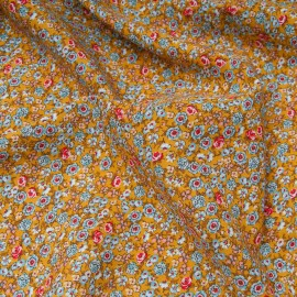 Tissu popeline viscose au mètre JULIA SOLEIL fleurettes Oekotex en 140cm