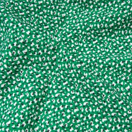 Tissu popeline viscose au mètre MARION VERT Oekotex petite fleur de coton en 140cm
