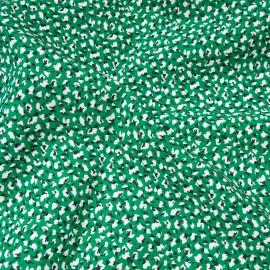 Tissu popeline viscose au mètre MARION VERT Oekotex petit motif noir et blanc en 140cm