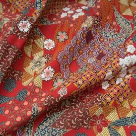 Tissu popeline viscose au mètre YIN ROUGE Oekotex imprimé japonisant en 140cm